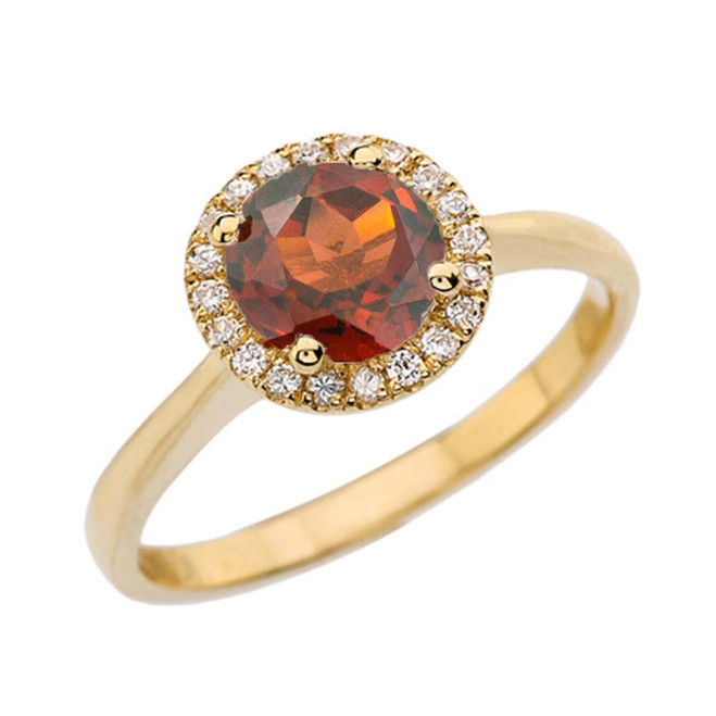 Yellow Gold Diamond Round Halo Engagement/Proposal Ring With Garnet Center Stone