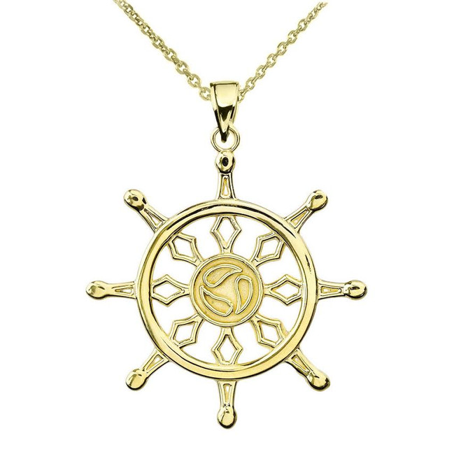 Yellow Gold Dharma Wheel Buddhism Symbol