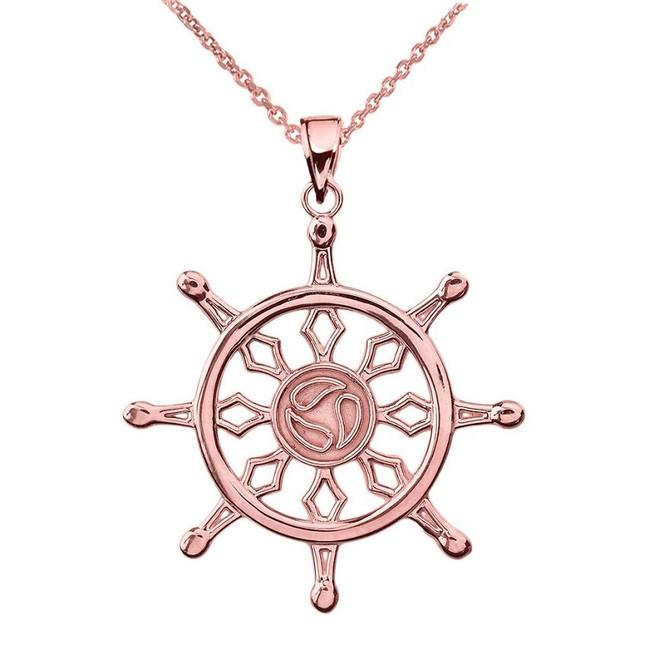 Rose Gold Dharma Wheel Buddhism Symbol