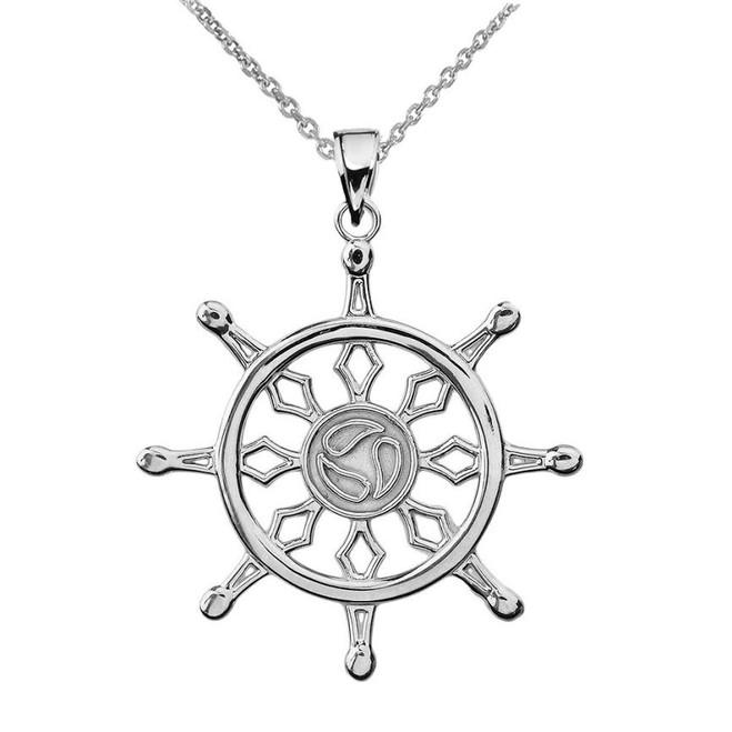 White Gold Dharma Wheel Buddhism Symbol