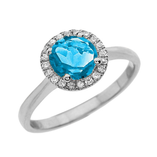 White Gold Diamond Round Halo Engagement/Proposal Ring With Blue Turquoise Center Stone