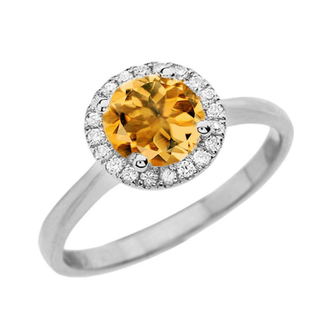 White Gold Diamond Round Halo Engagement/Proposal Ring With Citrine Center Stone