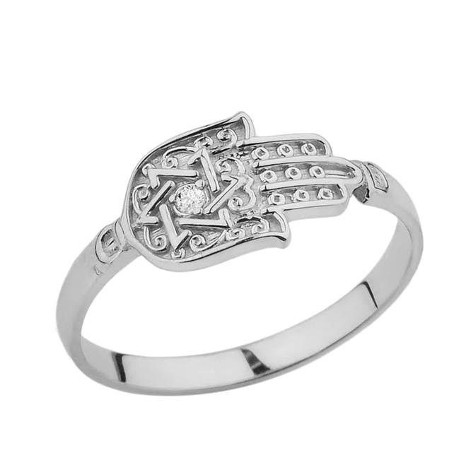 White Gold Diamond Star of David Hamsa Hand Ring