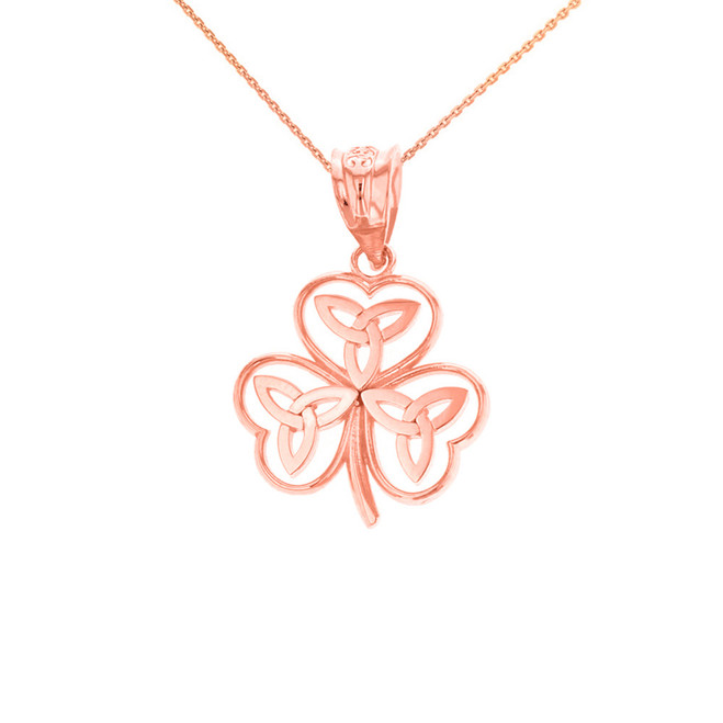 Solid Rose Gold Celtic Trinity Knot Shamrock Pendant Necklace