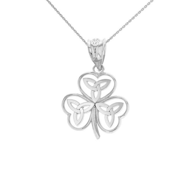 Solid White Gold Celtic Trinity Knot Shamrock Pendant Necklace