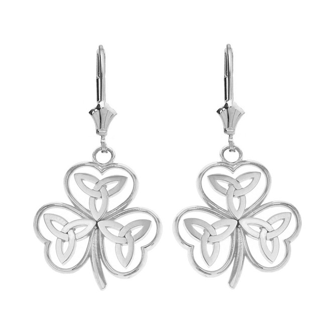 14K Solid White Gold Solid Yellow Gold Celtic Trinity Knot Shamrock Drop Earring Set