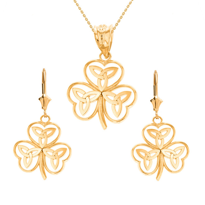 14K Solid Yellow Gold Celtic Trinity Knot Shamrock Pendant Earring Set
