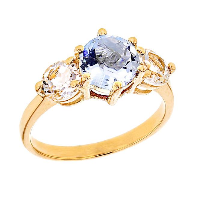Yellow Gold Genuine Aquamarine and White Topaz Engagement/Promise Ring