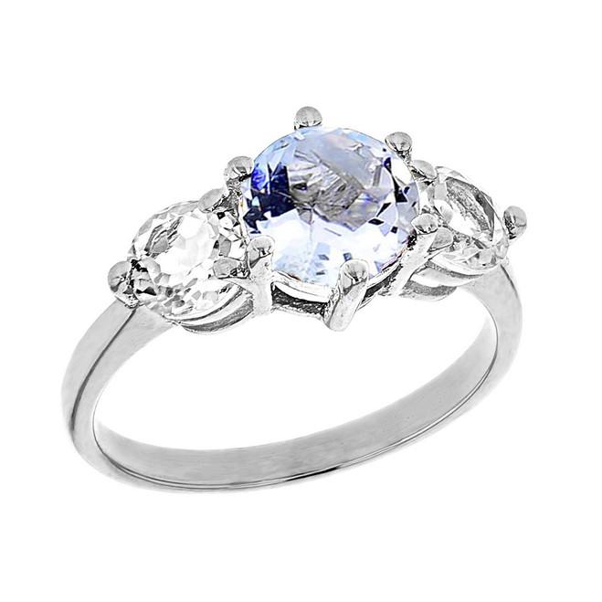White Gold Genuine Aquamarine and White Topaz Engagement/Promise Ring