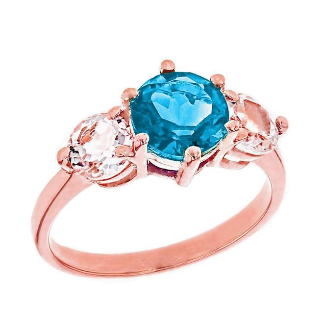 Rose Gold Genuine Blue Topaz and White Topaz Engagement/Promise Ring