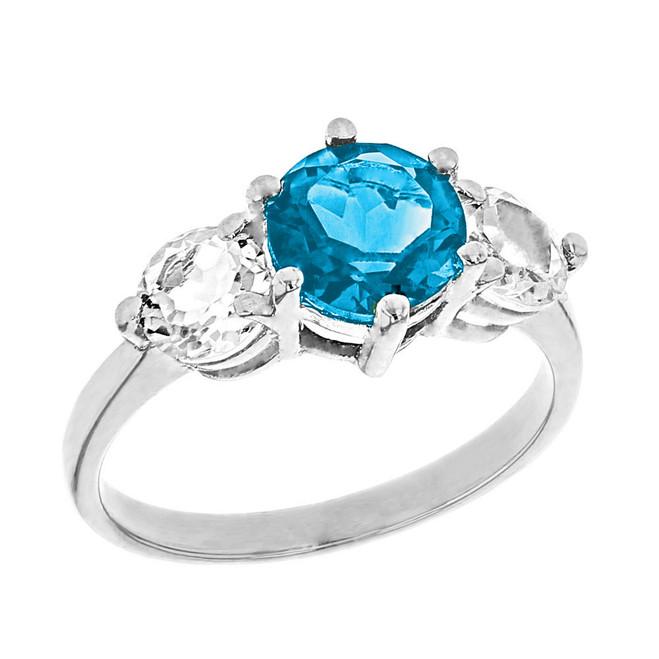 White Gold Genuine Blue Topaz and White Topaz Engagement/Promise Ring