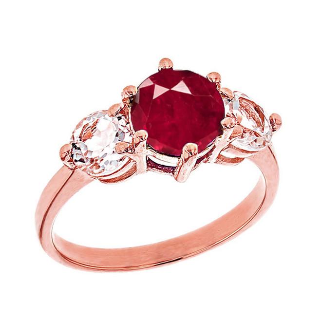 Rose Gold Genuine Garnet and White Topaz Engagement/Promise Ring