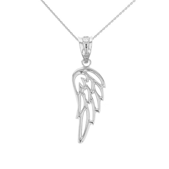 Solid White Gold Filigree Guardian Angel Wing Pendant Necklace
