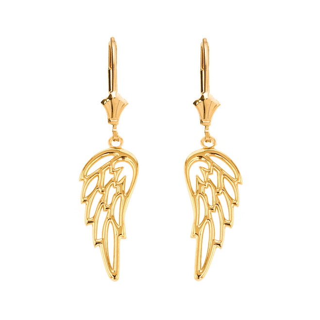 Solid Yellow Gold Filigree Guardian Angel Wing Drop Earring Set