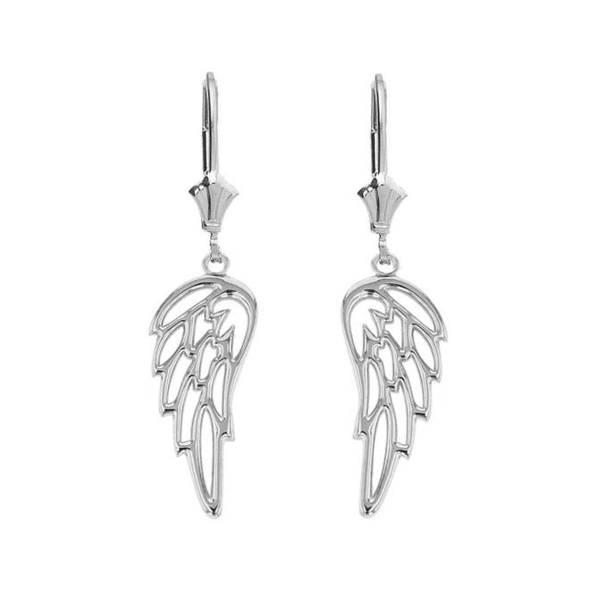 14K Solid White Gold Filigree Guardian Angel Wing Drop Earring Set