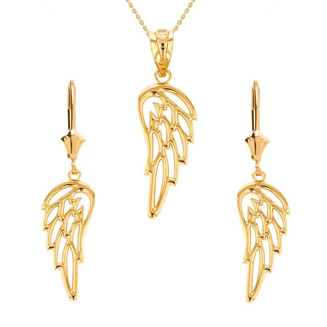 14K Solid Yellow Gold Filigree Guardian Angel Wing Pendant Earring Set