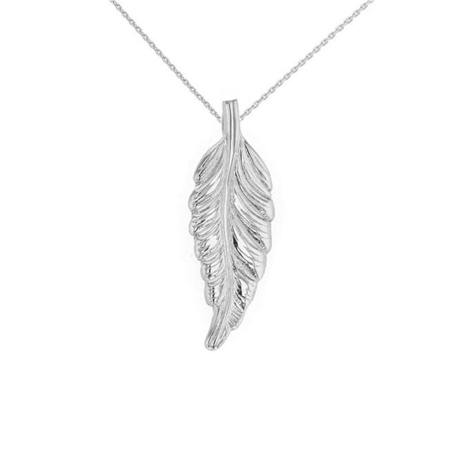 Solid White Gold Bohemia Boho Feather Pendant Necklace