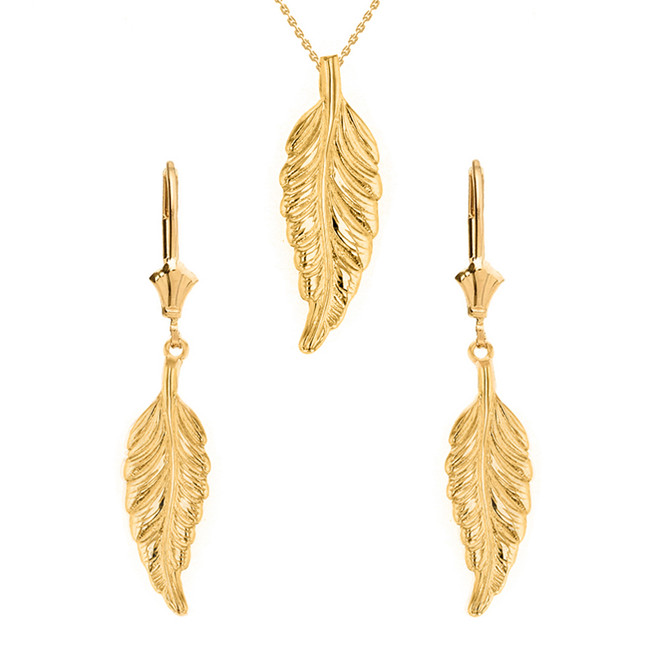 14K Solid Yellow Gold Bohemia Boho Feather Pendant Earring Set