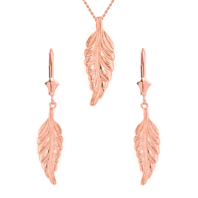 14K Solid Rose Gold Bohemia Boho Feather Pendant Earring Set