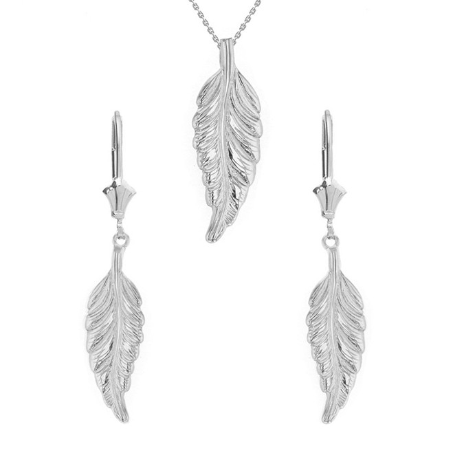 14K Solid White Gold Bohemia Boho Feather Pendant Earring Set