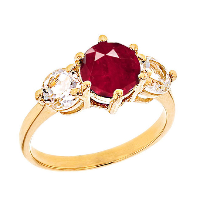 Yellow Gold Lab Created Ruby and White Topaz Engagement/Promise Ring