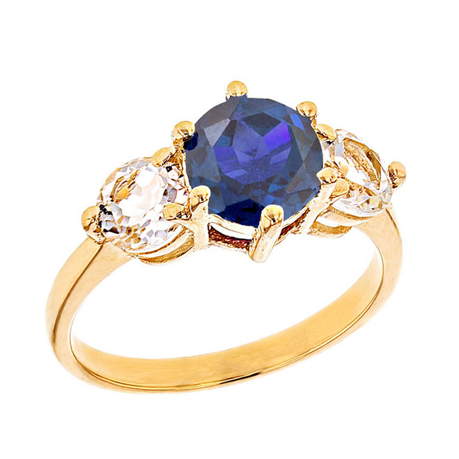 Yellow Gold Lab Created Sapphire and White Topaz Engagement/Promise Ring