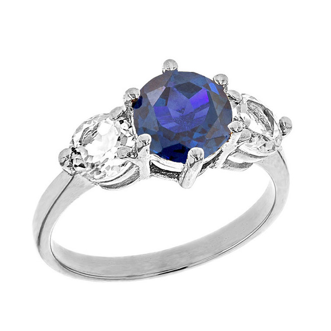 White Gold Lab Created Sapphire and White Topaz Engagement/Promise Ring