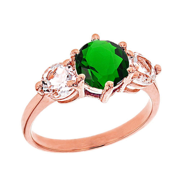 Rose Gold Lab Created Emerald and White Topaz Engagement/Promise Ring