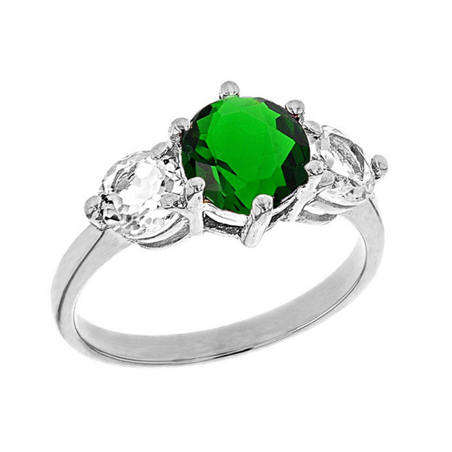 White Gold Lab Created Emerald and White Topaz Engagement/Promise Ring