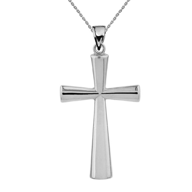 Solid White Gold Cross Pendant