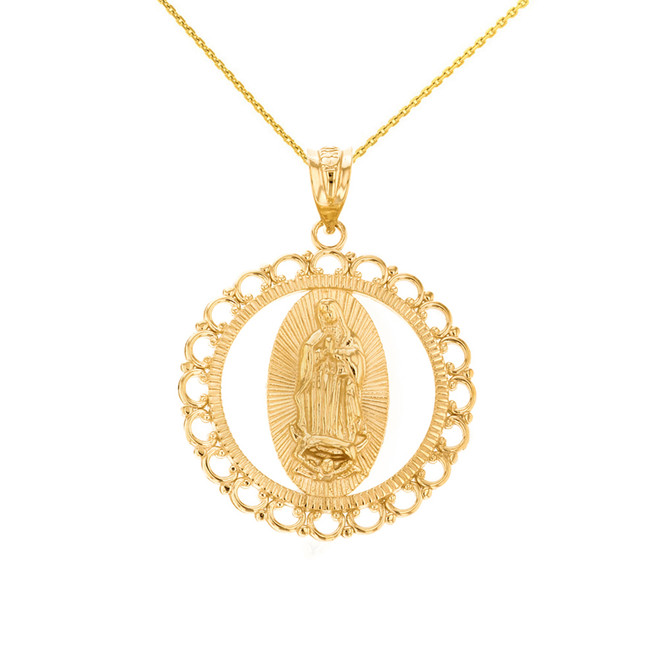"Solid Yellow Gold Scalloped Edge Frame Openwork Our Lady of Guadalupe Pendant Necklace 1.24"" ( 31 mm)"
