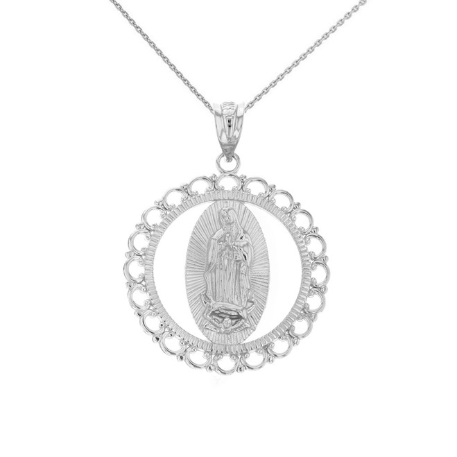 """Solid White Gold Scalloped Edge Frame Openwork Our Lady of Guadalupe Pendant Necklace 1.24"""" ( 31 mm)"""