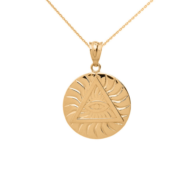 Solid Yellow Gold Illuminati All Seeing Eye of Providence Circle Pendant Necklace