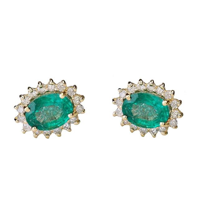 Diamond and Lab Created Emerald Yellow Gold Studs