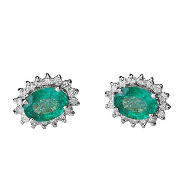 Diamond and Lab Created Emerald White Gold Studs