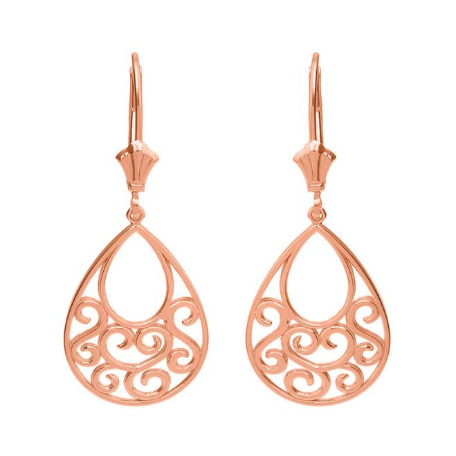 14K Solid Rose Gold Filigree Teardrop Tree of Life Heart Drop Earring Set