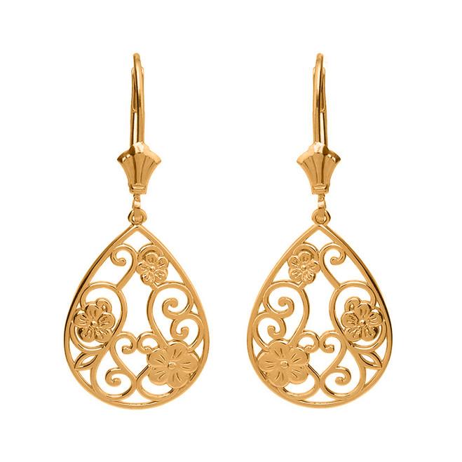 Solid Yellow Gold Filigree Teardrop Floral Drop Earring Set