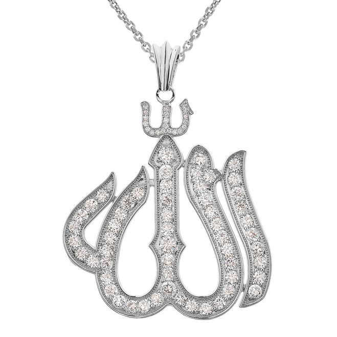 Large White Gold 14K Diamond Allah Pendant