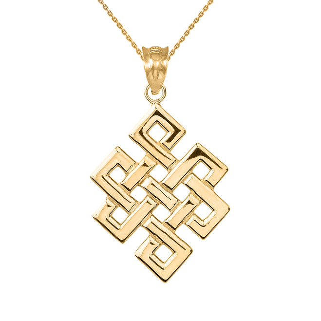 Yellow Gold Japanese Buddhist Eternity Knot Pendant