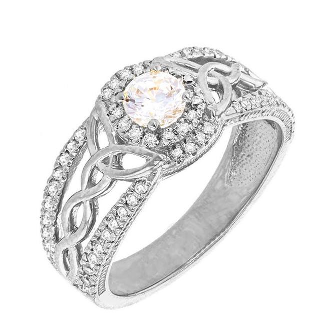 White Gold Diamond Ring with Diamond Center Stone