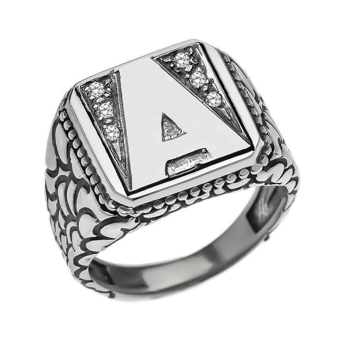 """Sterling Silver Men's Initial """"A"""" Ring"""