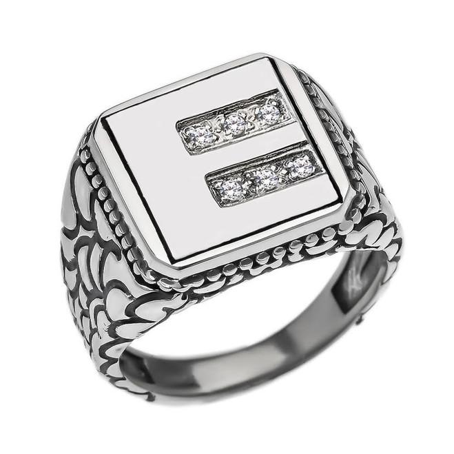 "Sterling Silver Men's Initial ""E"" Ring"