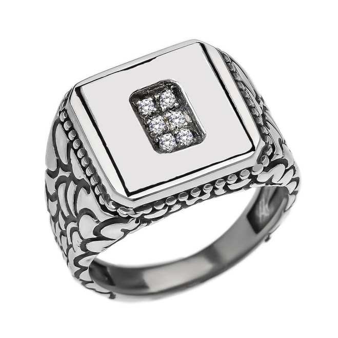 """Sterling Silver Men's Initial """"O"""" Ring"""