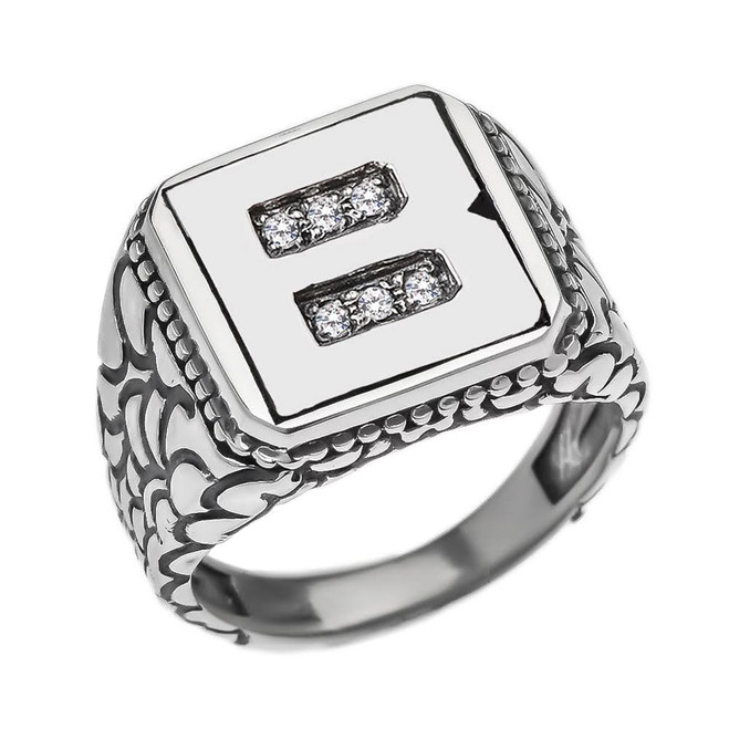 """Sterling Silver Men's Initial """"B"""" Ring"""