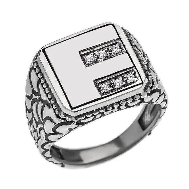 """Sterling Silver Men's Initial """"F"""" Ring"""