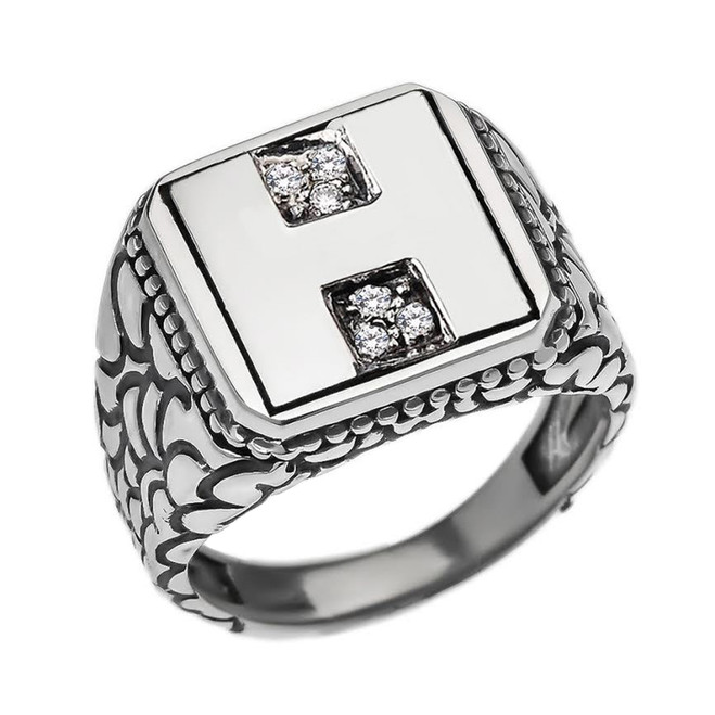 """Sterling Silver Men's Initial """"H"""" Ring"""