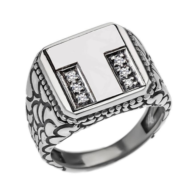 """Sterling Silver Men's Initial """"T"""" Ring"""