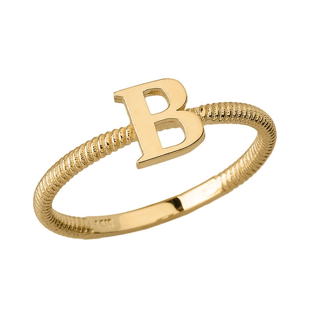 Solid Yellow Gold Alphabet Initial Letter B Stackable Ring