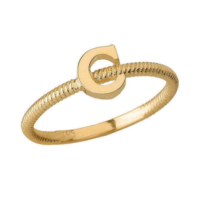 Solid Yellow Gold Alphabet Initial Letter C Stackable Ring
