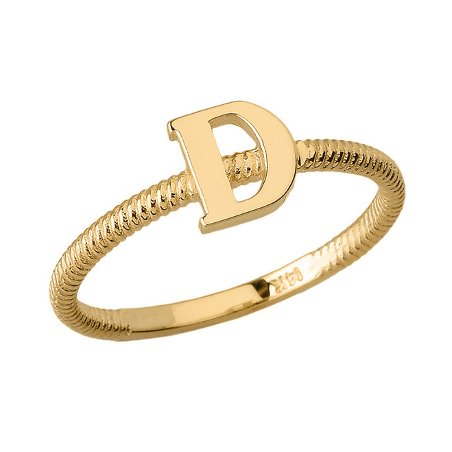 Solid Yellow Gold Alphabet Initial Letter D Stackable Ring